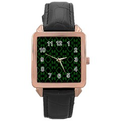 Green Black Pattern Abstract Rose Gold Leather Watch