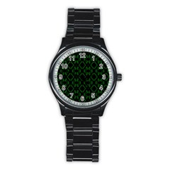 Green Black Pattern Abstract Stainless Steel Round Watch