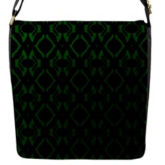 Green Black Pattern Abstract Flap Messenger Bag (S)