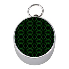 Green Black Pattern Abstract Mini Silver Compasses