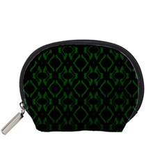 Green Black Pattern Abstract Accessory Pouches (small)