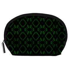 Green Black Pattern Abstract Accessory Pouches (large)