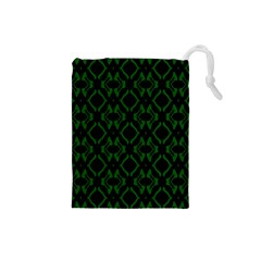 Green Black Pattern Abstract Drawstring Pouches (small)