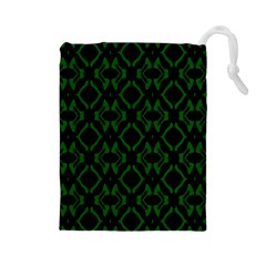 Green Black Pattern Abstract Drawstring Pouches (Large)