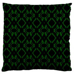 Green Black Pattern Abstract Large Flano Cushion Case (One Side)