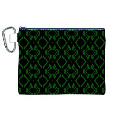 Green Black Pattern Abstract Canvas Cosmetic Bag (XL)