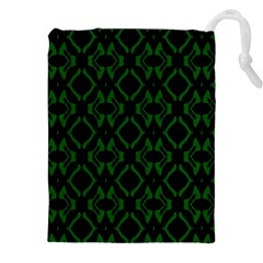 Green Black Pattern Abstract Drawstring Pouches (XXL)