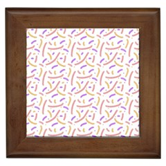 Confetti Background Pink Purple Yellow On White Background Framed Tiles