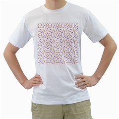 Confetti Background Pink Purple Yellow On White Background Men s T-Shirt (White) (Two Sided)
