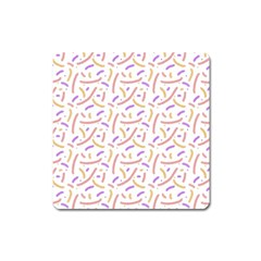 Confetti Background Pink Purple Yellow On White Background Square Magnet