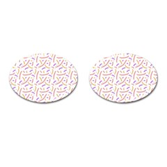 Confetti Background Pink Purple Yellow On White Background Cufflinks (Oval)