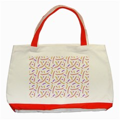 Confetti Background Pink Purple Yellow On White Background Classic Tote Bag (Red)