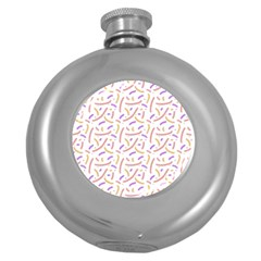 Confetti Background Pink Purple Yellow On White Background Round Hip Flask (5 oz)