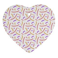 Confetti Background Pink Purple Yellow On White Background Heart Ornament (Two Sides)
