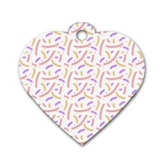 Confetti Background Pink Purple Yellow On White Background Dog Tag Heart (two Sides)