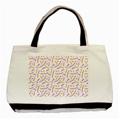 Confetti Background Pink Purple Yellow On White Background Basic Tote Bag (two Sides)