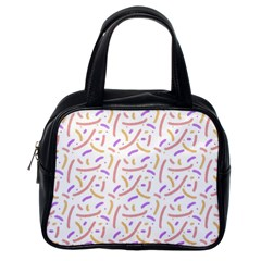 Confetti Background Pink Purple Yellow On White Background Classic Handbags (One Side)
