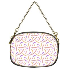 Confetti Background Pink Purple Yellow On White Background Chain Purses (One Side)