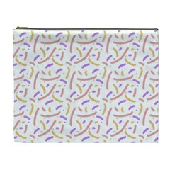 Confetti Background Pink Purple Yellow On White Background Cosmetic Bag (XL)
