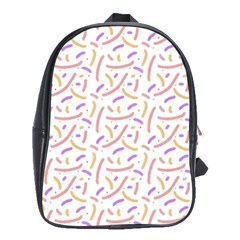 Confetti Background Pink Purple Yellow On White Background School Bags(Large)