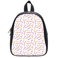 Confetti Background Pink Purple Yellow On White Background School Bags (small)