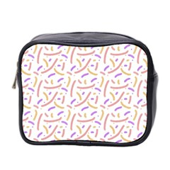 Confetti Background Pink Purple Yellow On White Background Mini Toiletries Bag 2-Side