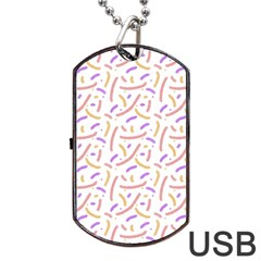 Confetti Background Pink Purple Yellow On White Background Dog Tag Usb Flash (two Sides)
