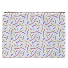 Confetti Background Pink Purple Yellow On White Background Cosmetic Bag (XXL)