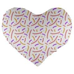 Confetti Background Pink Purple Yellow On White Background Large 19  Premium Heart Shape Cushions