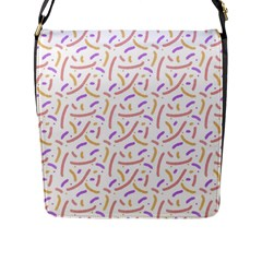 Confetti Background Pink Purple Yellow On White Background Flap Messenger Bag (l)