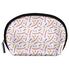 Confetti Background Pink Purple Yellow On White Background Accessory Pouches (Large)