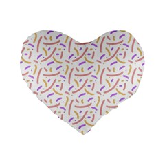 Confetti Background Pink Purple Yellow On White Background Standard 16  Premium Flano Heart Shape Cushions