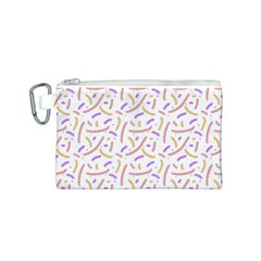 Confetti Background Pink Purple Yellow On White Background Canvas Cosmetic Bag (S)