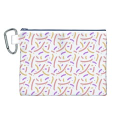 Confetti Background Pink Purple Yellow On White Background Canvas Cosmetic Bag (L)