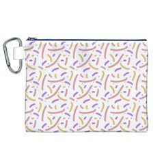 Confetti Background Pink Purple Yellow On White Background Canvas Cosmetic Bag (XL)