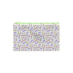 Confetti Background Pink Purple Yellow On White Background Cosmetic Bag (xs)