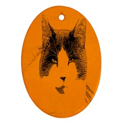Cat Graphic Art Ornament (oval)