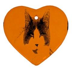 Cat Graphic Art Ornament (heart)