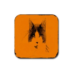 Cat Graphic Art Rubber Square Coaster (4 pack)