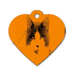 Cat Graphic Art Dog Tag Heart (One Side)