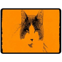 Cat Graphic Art Fleece Blanket (Large)
