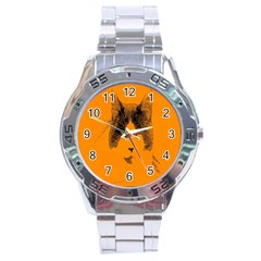 Cat Graphic Art Stainless Steel Analogue Watch