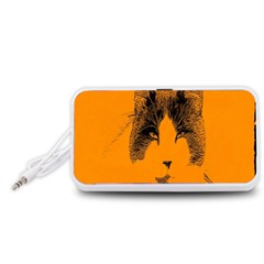 Cat Graphic Art Portable Speaker (White)