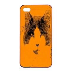 Cat Graphic Art Apple iPhone 4/4s Seamless Case (Black)