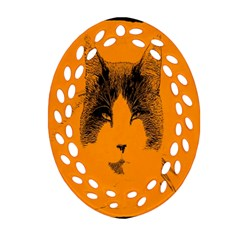 Cat Graphic Art Oval Filigree Ornament (two Sides)