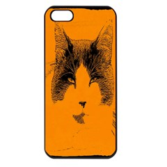 Cat Graphic Art Apple iPhone 5 Seamless Case (Black)
