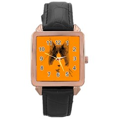 Cat Graphic Art Rose Gold Leather Watch