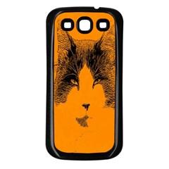 Cat Graphic Art Samsung Galaxy S3 Back Case (Black)