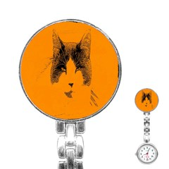 Cat Graphic Art Stainless Steel Nurses Watch