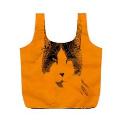 Cat Graphic Art Full Print Recycle Bags (M)